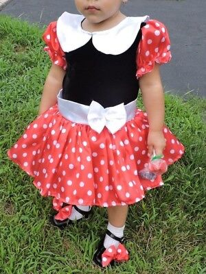 A cutie Minnie Mouse Girl Dress for a Toddler. Fits sizes 2T-3T