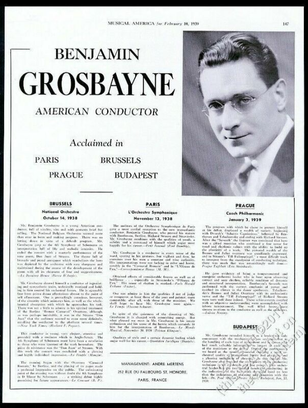 1939 Benjamin Grosbayne photo concert tour booking vintage trade print ad