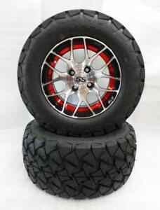 "Golf Cart Wheels & Tires 12"" Red Pursuit Wheels - Customize your Cart!!"