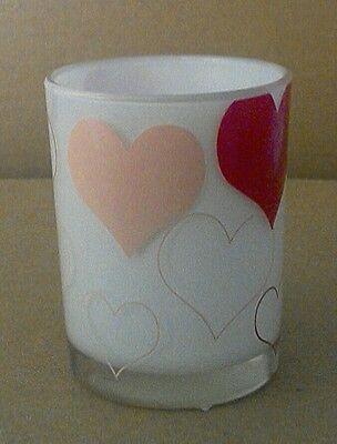 Yankee Candle HEARTS White, Red & Pink Glass Tea Light, Votive Holder. Free Ship