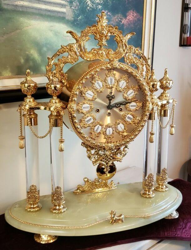 Stunning Rare Large  Mantle Clock Mechanical Pendulum Franz Hermle Gold Finish