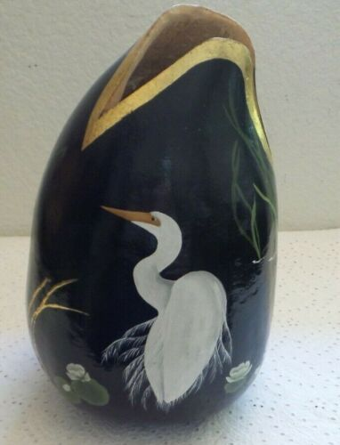 Hand Crafted~Hand Painted Large Gourd ~ White Egret Birds on Black Background