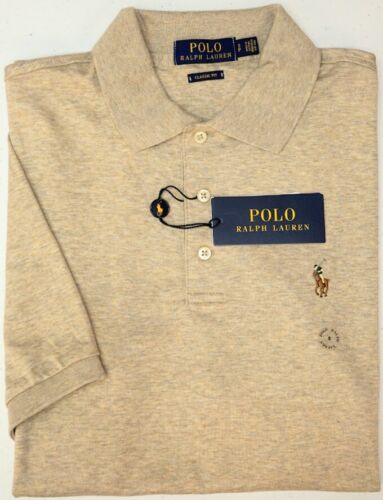 NEW $85 Polo Ralph Lauren Light Tan Heather Short Sleeve Shirt Classic Fit NWT