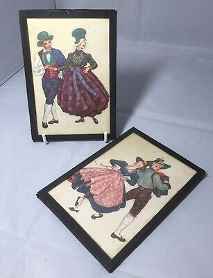 Sweet Vintage Pair of Small Pictures of Couples in National Dress
