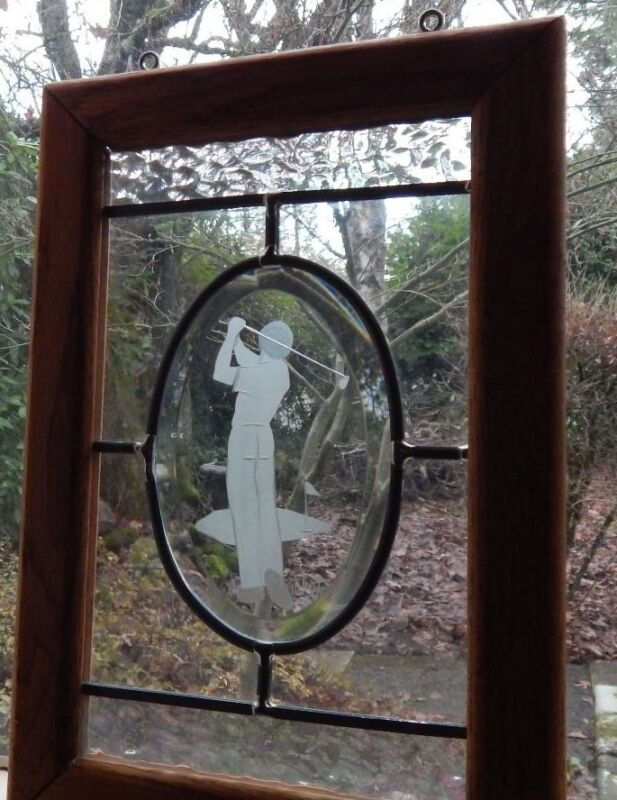 Perfect Golf Swing, Handmade  in Etched Glass. Well Made. Mint Conditon.