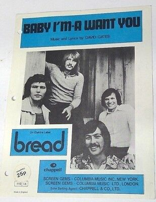 Used, Baby I'm-A Want You sheet music David Gates Bread Elektra Label 1971 Screen Gems for sale  Shipping to India