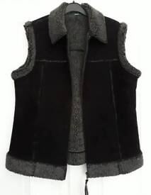 M & S black gilet Suede and faux fur Size 14