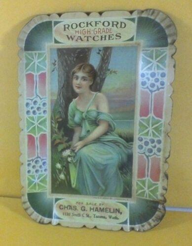 ROCKFORD WATCHES TACOMA WA ADVERTISING TRAY TIP LITHO LADY CHAS. G. HAMELIN
