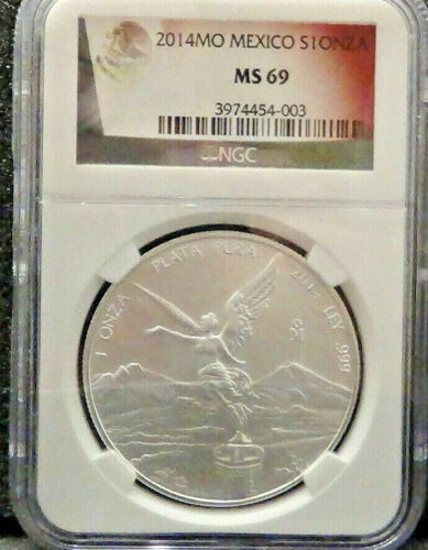 2014 MO MEXICO S1 ONZA - 1 OZ SOLID SILVER LIBERTAD - NGC GRADED MS 69