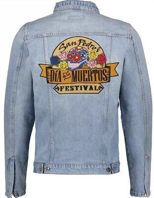 JUST JUNKIES Designer Denim Jacket 40-42 Chest Large RRP £105!!! 100% Authentic