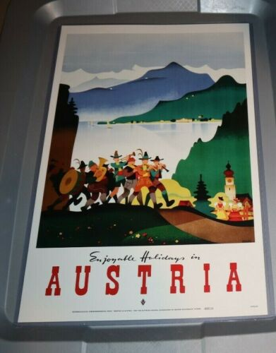 AUSTRIA ALPINE MARCHING BAND 11X17 REPRO POSTER READY TO HANG TRAVEL AGENCY