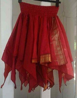 beautiful RED ART SILK RAG HANKY PIXIE SKIRT*BOHO*STEAM-PUNK one sz 10-18