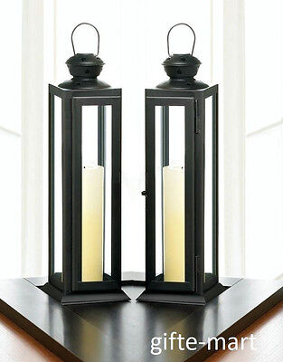 """2 Black 12"""" tall skinny country western Candle holder Lantern Lamp wedding table"""