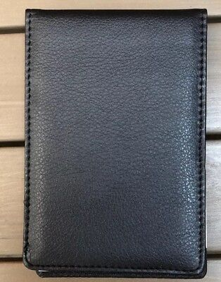 Staples Mini Faux Leather Pad Folio 80 Sheet Blk Pocket Pen Holder