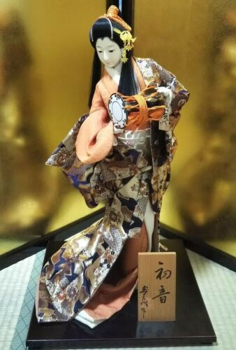 "Vintage Japanese Geisha doll in Kimono 23"" on wooden base Antique Orange Gold"