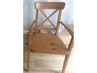 IKEA Ingolf Natural Wooden Arm Chair Dining Chair x1 Rrp £49.99