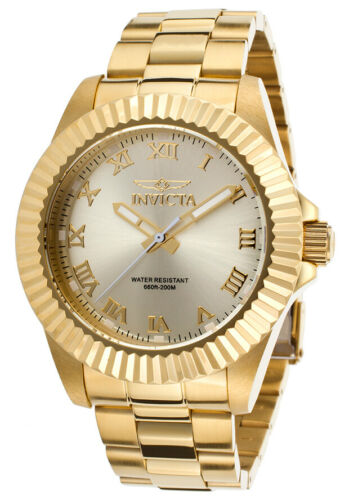 NEW!! Invicta Pro Diver Champagne Dial Gold-tone Roman Numer