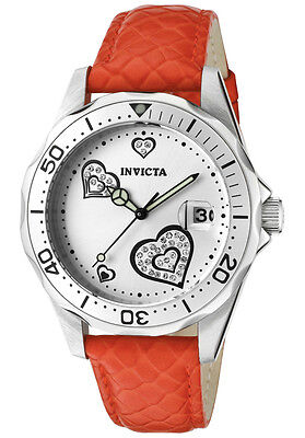 Invicta Watch 12402 Women's Pro Diver White Crystal Silver Dial Orange Red on Rummage