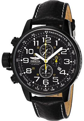 Invicta Mens Lefty Chronograph Black Leather Watch 3332