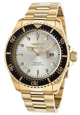 Invicta Men's Watch Pro Diver Quartz Silver Tone Dial Yellow Gold Bracelet 22064