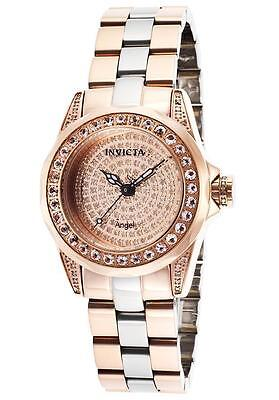 Women's Invicta 16008 Angel Swiss Pave Dial Two Tone Stainless Steel Watch