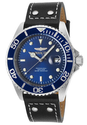 Invicta 22068 Gent's Blue Dial Black Leather Strap Dive Watch ()