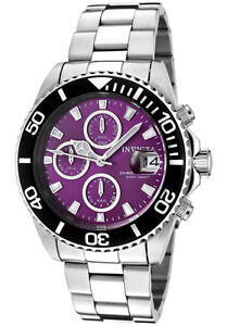 Invicta-Watch-1006-Mens-Pro-Diver-Chronograph-Purple-Dial-Stainless-Steel