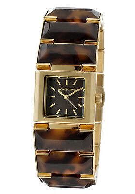 NEW MICHAEL KORS GOLD TONE,BROWN TORTOISE ACRYLIC,RESIN BRACELET WATCH MK4250