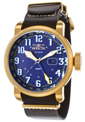 BRAND NEW! INVICTA 18889 MENS AVIATOR 52MM LEATHER BAND SWISS QUARTZ WATCH