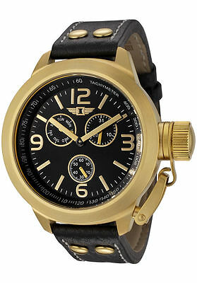 New I by Invicta Men's Chronograph Black Leather Gold Watch