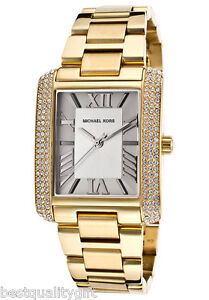 new michael kors emery gold,crystals,roman numbers s/steel