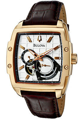 (BULOVA DRESS AUTOMATIC SILVER DIAL BROWN LEATHER STRAP MEN'S WATCH 97A103 NEW)