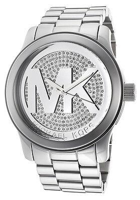 Michael Kors MK5544 Silver Tone Pave Crystal Runway Wrist Watch Free Shipping
