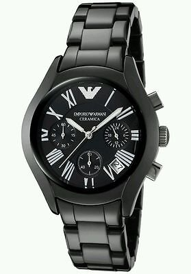 Neu Emporio Armani AR1401 Damen Schwarz Ceramica Designer Uhr - UK Verkäufer