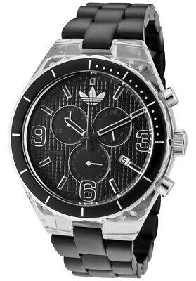 Adidas Plastic Cambridge Chrono Date Transparent Case Black Dial Watch ADH2542