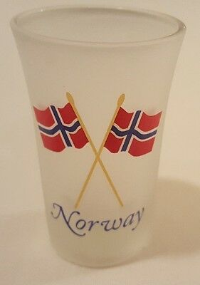 Frosted Shot Glass   Norwegian   Norway With Norwegian Flags   New