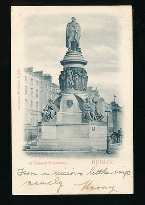 Ireland DUBLIN O'Connell Monument Used 1902 u/b PPC local pub Lawrence