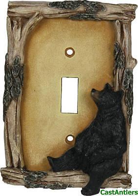 Bear Single Switchplate (Black Bear Single Light Switch Plate Cover Western Rustic Lodge Cabin)