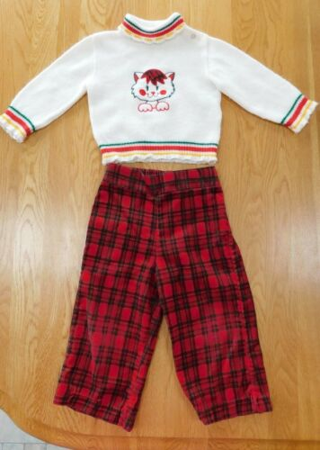Vintage Girls DOE-SPUN Kitty Cat Sweater & Corduroy Pants Outfit/Set 18 Months