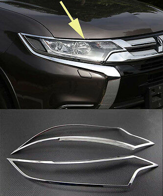 Chrome Front Head Light Lamp Cover Trim for 2016-2018 Mitsubishi Outlander new