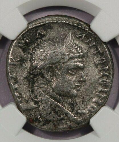 198-217 AD AR Denarius Syria, Antioch NGC VF Caracalla BI Tetradrachm