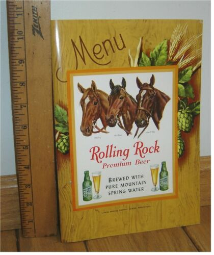 NOS Rolling Rock Beer Menu Kentucky Derby Horses Whirlaway Sea Biscuit Man O War
