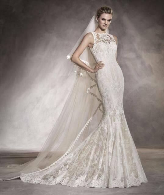 Pronovias 39 Aura 39 Ivory Lace Wedding Dress Size 8 Wedding