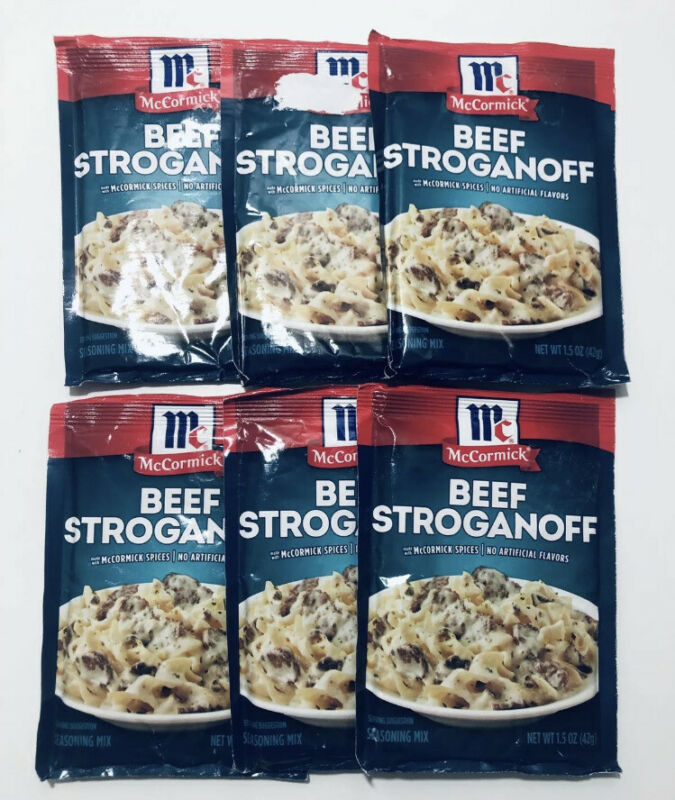 6 McCormick Beef Stroganoff Sauce Mix - 1.5 oz (42g) - Best By:  4/21