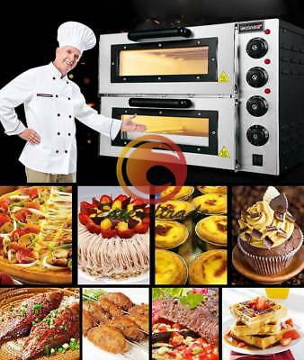 16 Double Electric Pizza Oven Cooking Machine Warming Equipment 110v 2kw