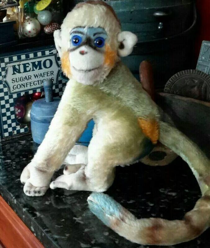 "Vintage Steiff Mungo Monkey Mohair Straw Stuffed BLUE Bottom & EYES 13"""
