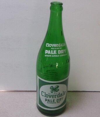 Vtg CLOVERDALE SODA NEWVILLE PA Ginger Ale Pale Dry 29 oz GREEN SODA BOTTLE '47