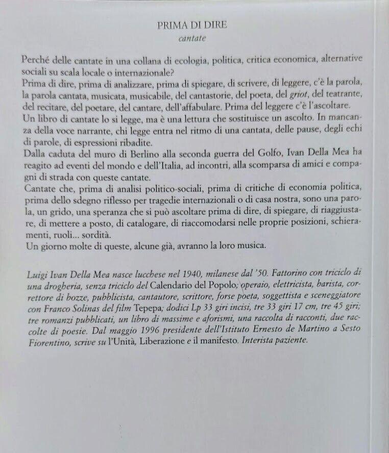 Ivan Della Mea PRIMA DI DIRE cantate DALLA CADUTA DEL MURO DI BERLINO JACA BOOK