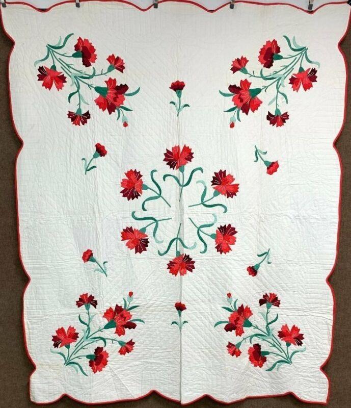 Beautiful! Vintage Floral APPLIQUE Quilt RED Rare Kit!
