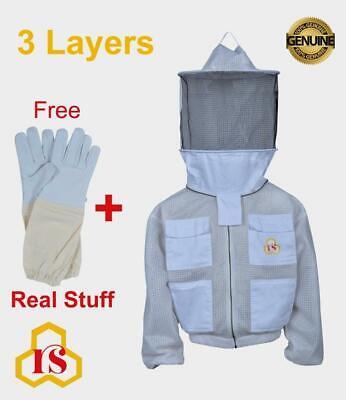 Professional Bee 3 Layer Uv Beekeeping Beekeeper Jacket Round Veil Size Xl